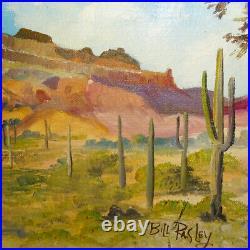 Vintage Original Southwestern Landscape Oil Painting Mountains Cactus Bil Pasley