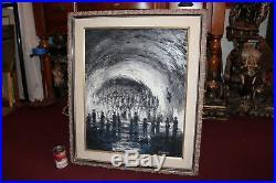 Vintage Original Surreal Oil Painting People Staring Into Wave Signed W. Debin