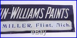 Vintage Original Tin Embossed Sherwin Williams Paint Sign Flint MI