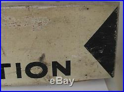 Vintage Original WPA Road Construction Sign Painted on Wood