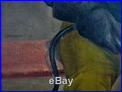 Vintage Original WPA Style Painting Portrait Welder Worker Signed Holliday 1971