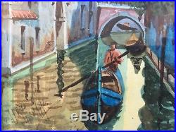 Vintage Original Watercolor Painting Venice Italy Signed Framed 8x10 Venetian