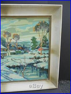 Vintage Paint By Number Stone Farmhouse Snow 24 x 18 Winter Shadows Framed