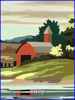 Vintage Paint By Numbers Barn Fall Early Autumn Signed 24x18