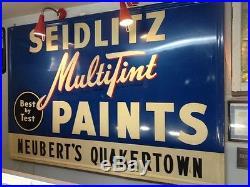 Vintage Paint Metal Sign Seidlitz Multitint Paint Neubert's Quakertown 70 x 46