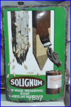 Vintage Paint Solignum wood Stain Preserving colour Enamel Porcelain London Sign
