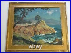 Vintage Painting 30 Inch Oil Early California Monterey Coast Landscape Antique