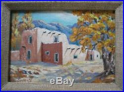 Vintage Painting American Landscape Taos Pueblo Indian Adobe Home By Spillers