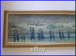 Vintage Painting Impressionism Sofa Size Skinny Narrow Umbrella Rainy Day Signed