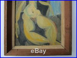 Vintage Painting Nude Expressionism Modernism Female Woman Model Oil Abstract