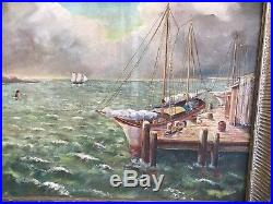 Vintage Painting Oil On Canvas By Peter H. Schuchard Signed & Framed Maritime