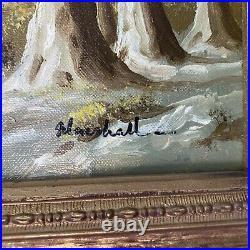Vintage Painting Signed Marshall Oil Stone Bridge 16x13 Ornate Frame
