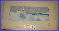 Vintage Painting on Seal Skin by George Ahgupuk Eskimo Hunting Scene 1962 Signed