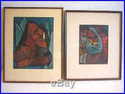 Vintage Pair Leo Politi 1932 Mayan Paintings Signed