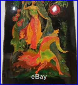 Vintage Palekh Lacquer Russian Hand Painted Signed Painting 8 x 12 / 1950s