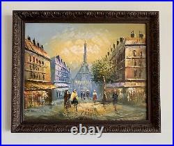 Vintage Parisian Paris Street Scene Oil Painting On Canvas Wood Framed