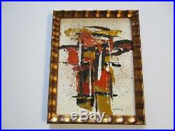Vintage Pat Matsui Abstract Painting Chunky Non Objective Modernism Chicago