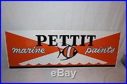 Vintage Pettit Marine Boat Paints Paint Gas Oil 40 Embossed Metal SignNice