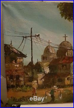 Vintage Philippine Oil Painting Signed Church City House Landscape Artist Asian