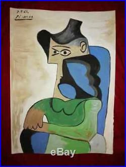 Vintage Picasso Original Art Drawing On Paper Signed