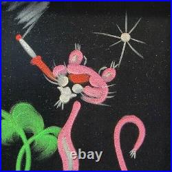 Vintage Pink Panther Painted Black Velvet Signed From Mexico Rough Wood Framed