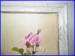Vintage Pink Roses Oil Painting On Board White Distressed Frame Signed 27 Tall