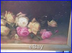 Vintage Pink & Yellow Roses Oil Painting Signed Framed 38 1/2 Yard Long