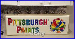 Vintage Pittsburgh Paints 3' Lighted Electric Advertising Sign NOS Peacock