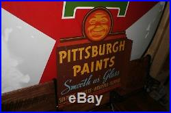 Vintage Pittsburgh Paints Flange Sign, Rare Version, Antique Advertising
