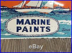Vintage Porcelain 34 x 22 Woolsey Marine Paints Company Enamel Sign