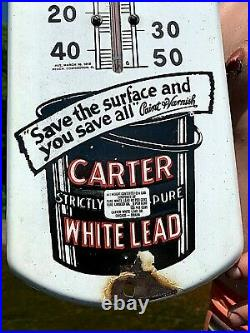Vintage Porcelain Carter White Lead Paint Thermometer Sign General Hardware 27X7