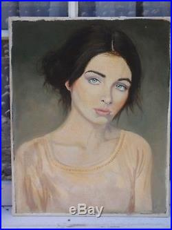 Vintage Portrait Beautiful Lady Woman 2016 Signed Oil Painting On Canvas Board