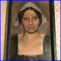 Vintage Portrait Of A Female Oil On Board Painting #1- Signed And Framed