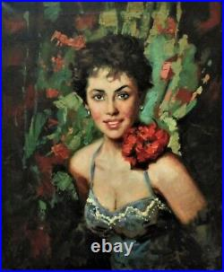 Vintage Portrait Oil Painting Glamorous Woman Lady Italian
