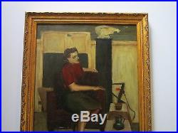 Vintage Portrait Painting MID Century Modern Female Model Signed Case 1950's