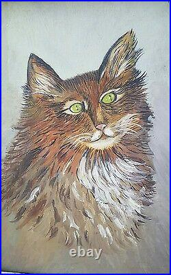 Vintage Portrait Painting of a Cat signed Premier Framed Instant Cat Relatives