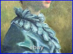 Vintage Portrait of a Woman in Blue Dress Oil Painting Signed Evelyn Gacko