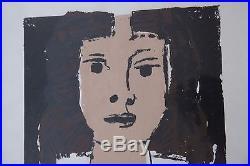 Vintage Post Modern Modernist Art Screenprint Signed Framed Diaz Girl Portrait