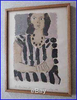 Vintage Post Modern Modernist OutsiderArt Painting Woman Portrait Signed Framed