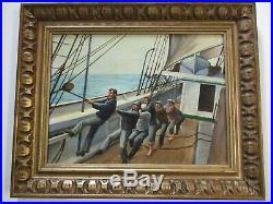 Vintage Post Wpa Style Nautical Painting Boat Workers Ship Seascape Crew Signed