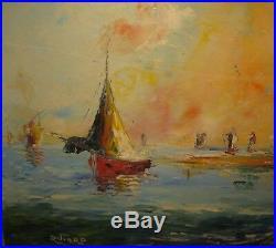 Vintage RAOUL VIARD Haitian Fishing Village OIL PAINTING Listed HAITI Master