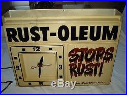 Vintage RUST-OLEUM Advertising Sign Lighted Clock Store Display Spray Paint