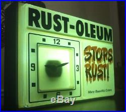 Vintage RUST-OLEUM Advertising Sign Lighted Clock Store Spray Paint Graffiti