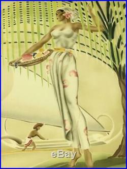 Vintage Rare Original Eric Gill Art Deco Hawaiian Airbrush Painting Pair MCM