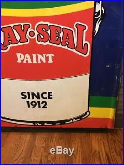 Vintage & Rare Self Framed Metal Paint Advertising Sign Gray Seal Paint