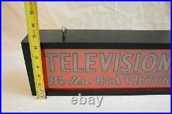 Vintage Rca Television Service Victor Tubes & Parts Reverse Painted Glass Sign