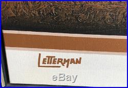 Vintage Retro 70's-80's MCM Signed Letterman Triptych 3 Panel Painting