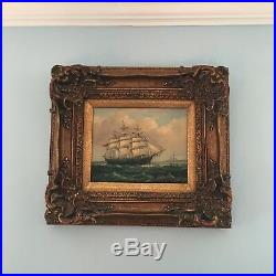 Vintage Robert Sanders Artist Signed Maritime Ship Oil Painting 17 1/2 W x 16