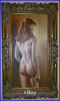 Vintage Roberto Lupetti Original Nude Oil Painting Signed on the Front and Back
