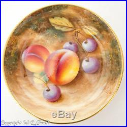 Vintage Royal Worcester Peach Fruit Painted Pin Dish Signed by Roberts
